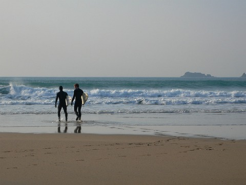 Surfers at Constantine beach, Cornwall