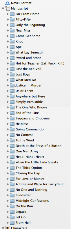 Closed chapter folders in Scrivener = Finished content edit!
