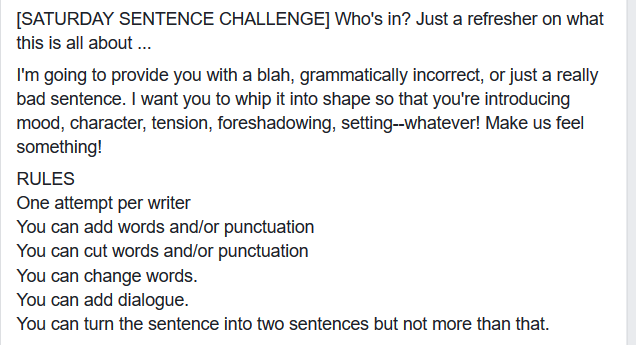 Saturday Sentence Challenge rules - screen capture